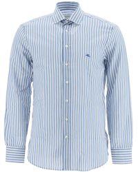 Etro Striped Shirt Pegasus Logo - Blue