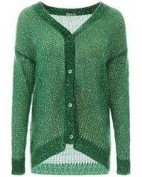 Miu Miu Sequins Knitted Cardigan - Green
