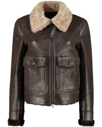 Brunello Cucinelli Shearling Leather Jacket - Brown