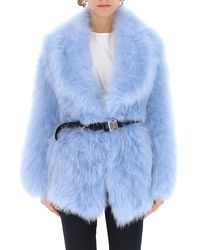 Prada Belted Fur Coat - Blue