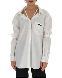 Prada Neck Strap Detail Logo Patch Shirt - White
