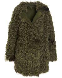 Alberta Ferretti Reversible Shearling Coat - Green