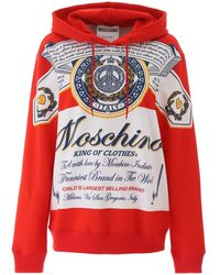 Moschino Printed Hoodie Red