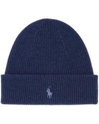 Polo Ralph Lauren Logo Rib-knit Beanie - Blue