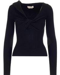 Alexander McQueen Twist-detailed Knitted Top - Black