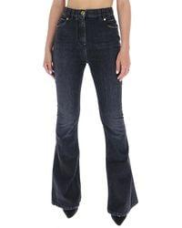 Balmain Embroidered Logo High-waisted Bootcut Jeans - Black