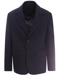 Prada Single Breasted Pinstripe Blazer - Blue