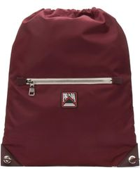 Prada Logo Patch Drawstring Backpack - Red