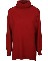 Allude Roll Neck Knit Jumper - Red