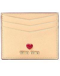 Miu Miu Madras Love Card Holder - Natural