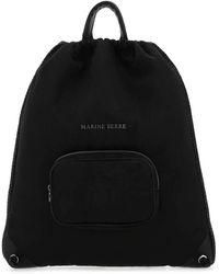 Marine Serre Logo Print Drawstring Backpack - Black
