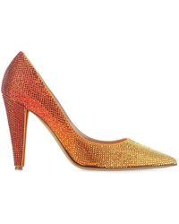 Alexandre Vauthier Embellished Fabric Catherine Court Shoes Donna - Orange