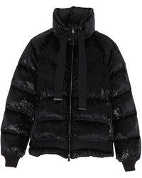 Pinko Striped Puffer Jacket - Black