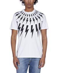 Neil Barrett Fair-isle Thunderbolt Print T-shirt - White