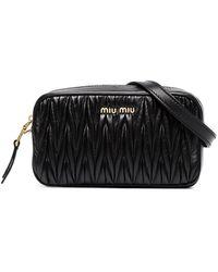 Miu Miu Matelassé Embellished Logo Belt Bag - Black