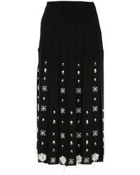 Prada Embellished Maxi Fringe Midi Skirt - Black