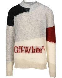 Off-White c/o Virgil Abloh Colorblock Distressed Knit Jumper - Multicolour
