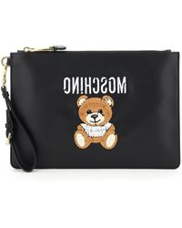 Moschino Pouch With Teddy Bear Embroidery - Black