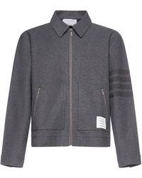 Thom Browne 4-bar Stripe Logo Patch Shirt Jacket - Grey