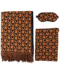 MCM Logo Fringe Scarf Set - Brown