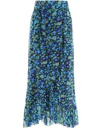 Ganni Floral Mesh Midi Wrap Skirt - Blue