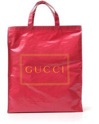 Gucci Logo Printed Tote Bag - Pink