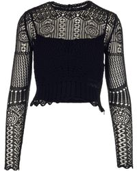 Alexander McQueen Crochet Knitted Top - Black