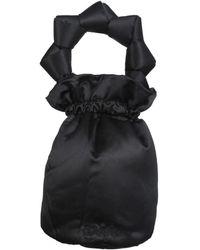 Ganni Logo Embroidered Knotted Bucket Bag - Black