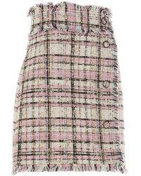 MSGM Frayed Edge Tweed Mini Skirt - Multicolour