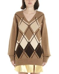 Miu Miu Argyle V Neck Knitted Sweatshirt - Brown