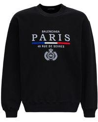 Balenciaga Black Cotton Sweatshirt With Print