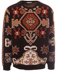 Etro Graphic Patterned Knit Sweater - Brown