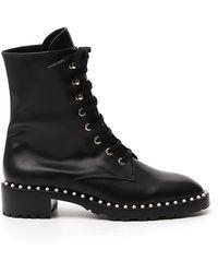 Stuart Weitzman Sondra Suede Lace-up Boots - Black