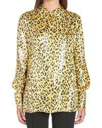 Diane von Furstenberg - Leopard Print Shimmer Shirt - Lyst