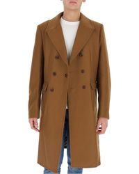 Junya Watanabe Contrast Panel Double Breasted Coat - Brown
