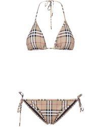 Burberry Vintage Check Triangle Bikini Set - Natural