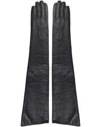 MM6 by Maison Martin Margiela Leather Gloves - Black