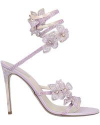 Rene Caovilla René Caovilla Crystal Flower Embellished Sandals - Purple
