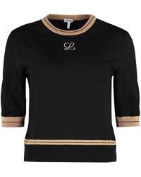 Loewe Contrast Stripe Cropped Jumper - Black