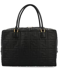 Fendi Boston Large Bag In Black Ff Nappa Leather