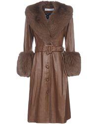 Saks Potts Fur-trim Belted Coat - Brown