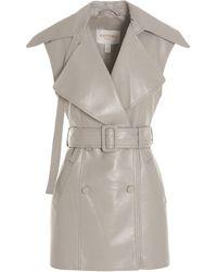 Matériel Belted Sleeveless Coat - Natural