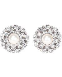 Alessandra Rich Crystal Embellished Pearl Earrings - Metallic