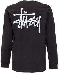 Stussy Logo Print Long-sleeved T-shirt - Black