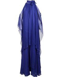 Alberta Ferretti Tied Neckline Layered Dress - Blue
