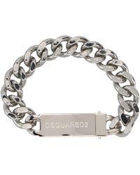 DSquared² Logo Plaque Chain Bracelet - Metallic