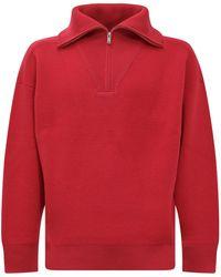 Isabel Marant Drop Shoulder Half-zip Jumper - Red
