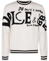 Dolce & Gabbana Logo Intarsia Jumper - White