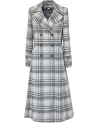 Polo Ralph Lauren Tartan Double Breasted Coat - Grey