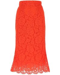 Dolce & Gabbana Lace Skirt Donna - Red